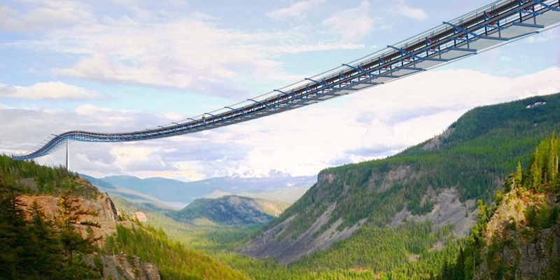 An image showing the Cable Bridge Conveyor crosses deep ravine with long span