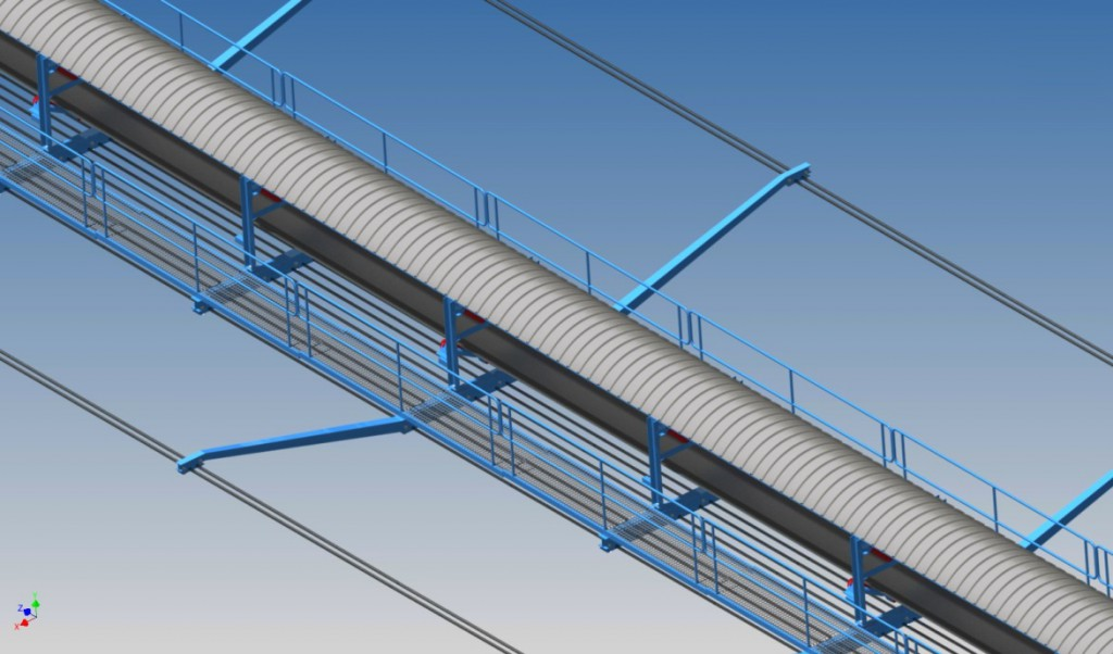 An image showing the isotropic view of a trough conveyor mounted on the conveyor bridge